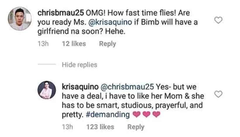 "Kailangan pumasa kay mommy! Kris Aquino lists down her ""#demanding"" requirements for Bimby's future girlfriend"