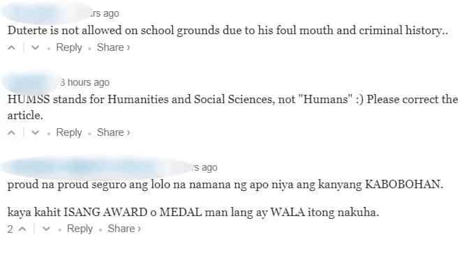 Pres. Duterte attends Isabelle Duterte's senior high school graduation, netizens commented 'fave apo' allegedly receives no award