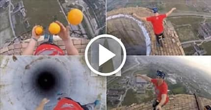 Man with deathwish rides UNICYCLE and perform tricks on 250m chimney