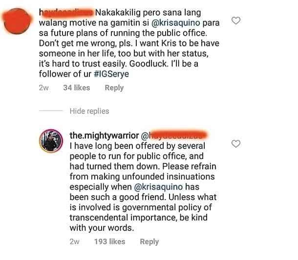 Atty. Gideon Peña responds to netizen who got worried that he has a hidden agenda with Kris Aquino