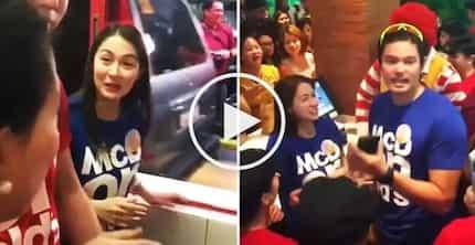 McDonald's customers go crazy as Marian Rivera & Dingdong Dantes distribute free sandwiches