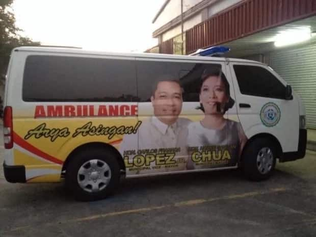 Pangasinan mayor and vice mayor suspended for putting own names and faces on ambulance