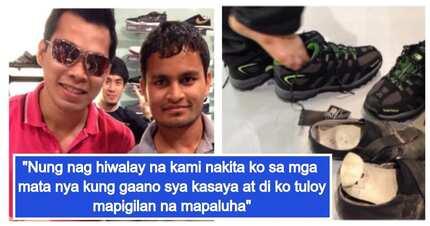 OFW sa Dubai, nagmalasakit bilhan ng rubber shoes ang isang Indiano na sira na ang sapatos