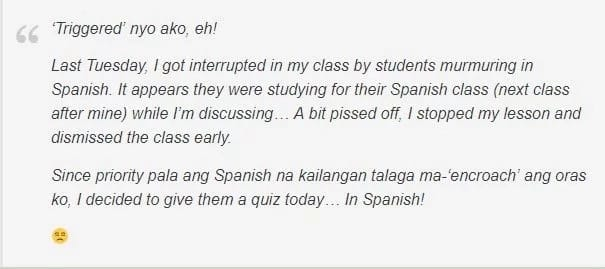 Triggered engineering teacher gives exam in Spanish