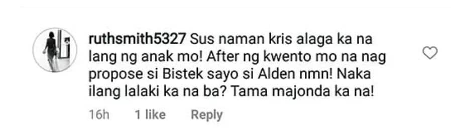 Iniimbyerna niyo si Krissy! Kris Aquino slams netizen for criticizing her for wanting to work with Alden Richards in an acting project