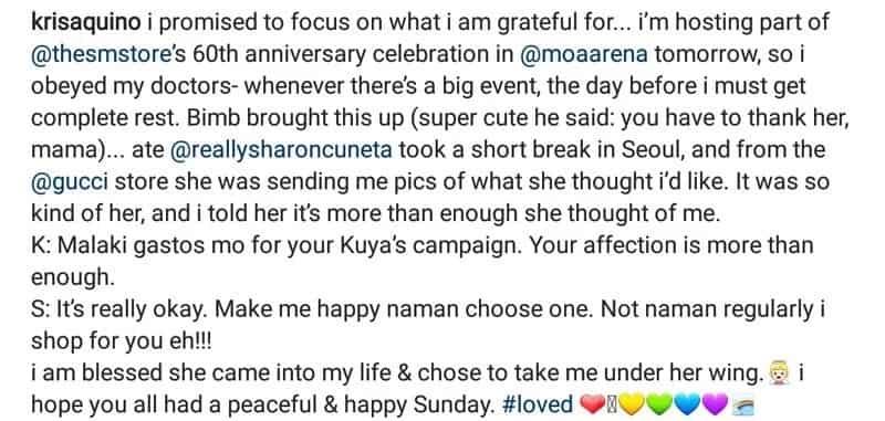 Kris Aquino nagpasalamat sa mamahaling regalo na natanggap kay Sharon Cuneta