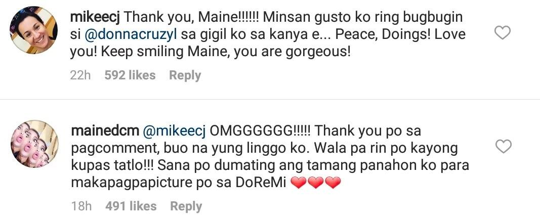 Maine Mendoza turns fan mode at response of Mikee Cojuangco on her post