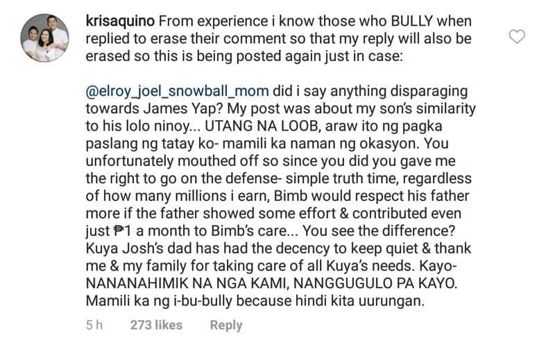 Kris Aquino exposes reason why Bimby could not give more respect to his father James Yap