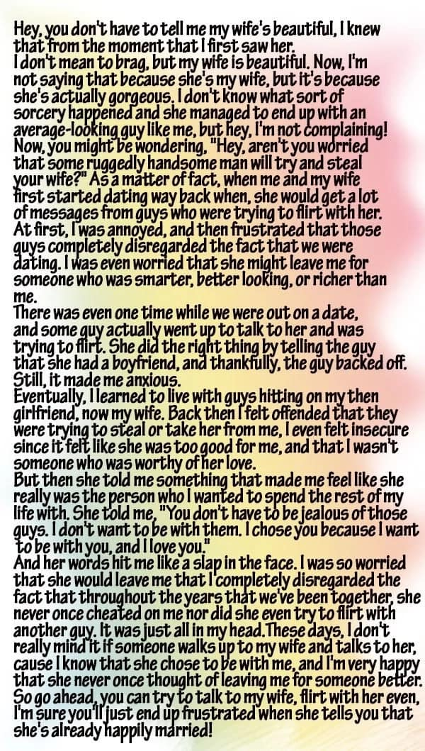 This husband's open letter his wife's many admirers elicited positive reactions