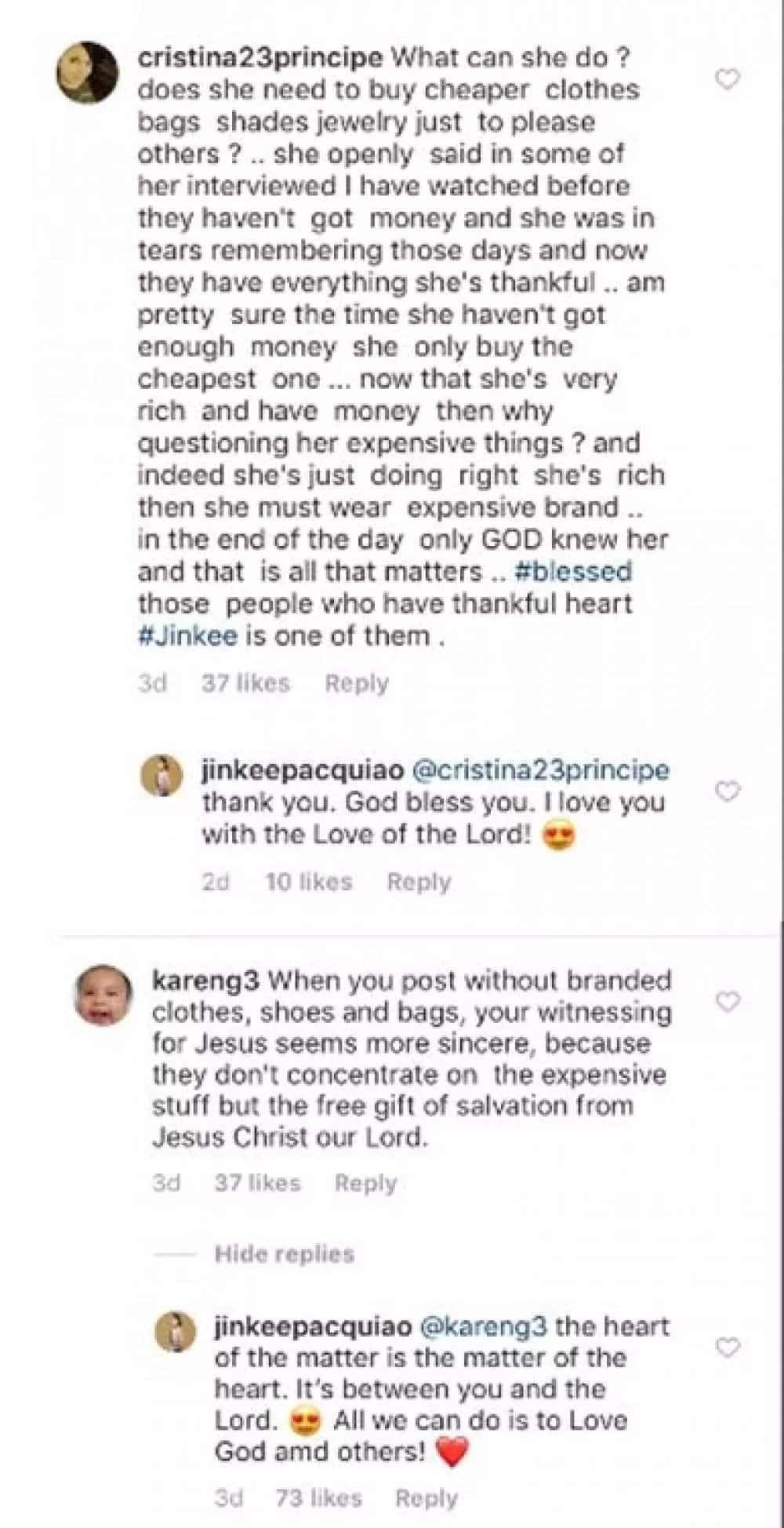 Jinkee Pacquiao bumuwelta sa netizens na kumwestiyon sa branded OOTDs niya
