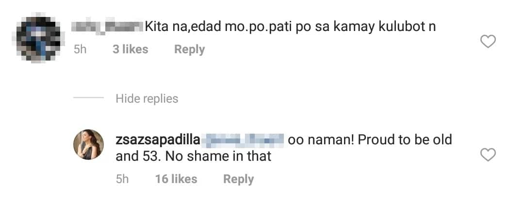 Iba siya bumanat! Zsa Zsa Padilla claps back at basher for rude comment