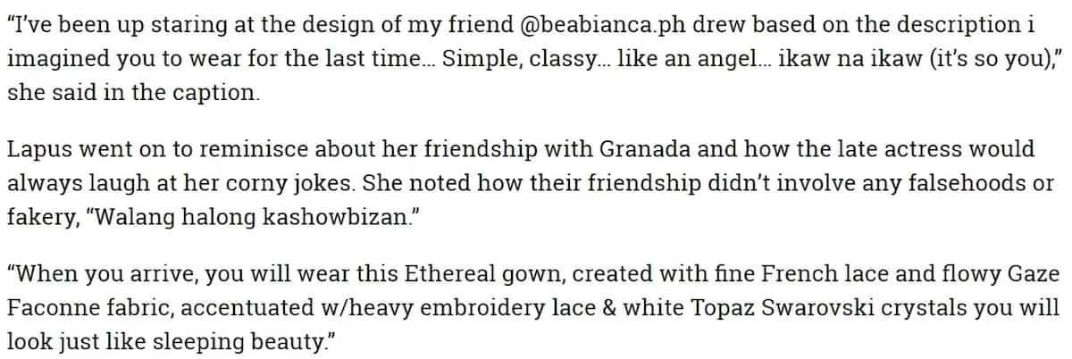 Bianca Lapus shares design of Isabel Granada's last dress