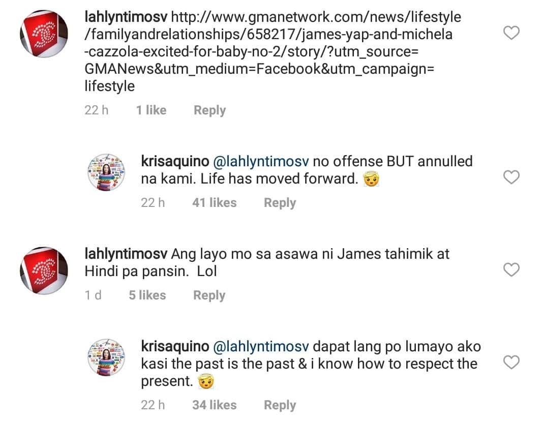 Kris Aquino responds to netizen who compared her to James Yap's new partner Michela Cazzola