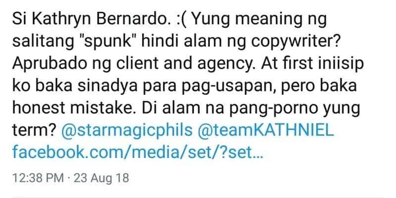 Kathryn Bernardo napahiya dahil sa paggamit ng pangporno term 'sp*nk on her lips' sa kanyang ad