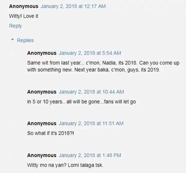 Nadine Lustre posts 'C'mon guys it's 2018'