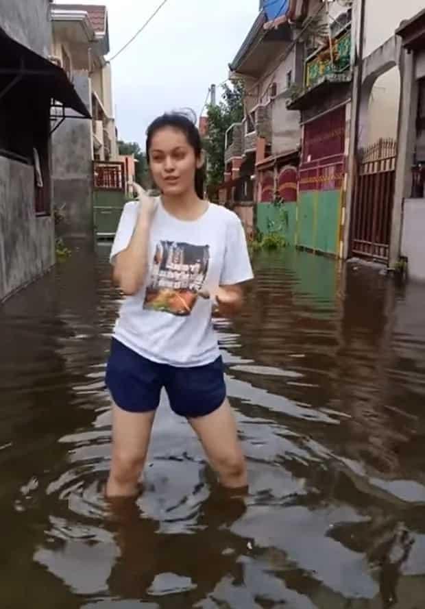 Nag-viral ang trip ni ate na sumayaw ng 'Boom Boom' sa malalim na tubig-baha