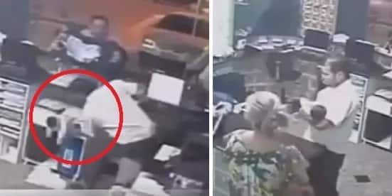 Pinoy receptionist catches falling baby