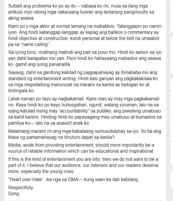 "Dingdong Dantes castigates columnist for ""malicious"" writeup about wife Marian Rivera"