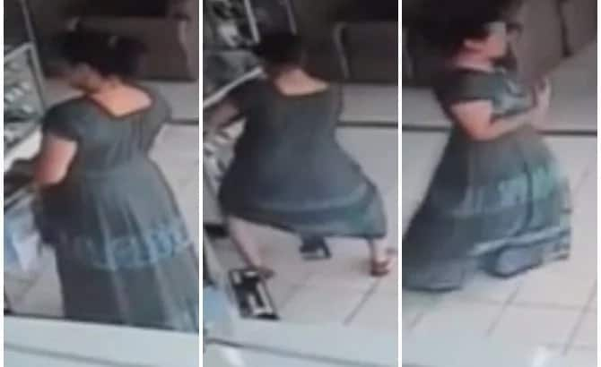 Woman Stealing TV By Hiding It Under Her Dress Is The Most Hilarious Video You Will See Today