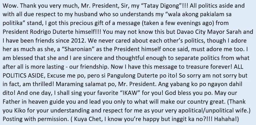 Fan din si Digong! President Duterte sends megastar Sharon Cuneta a video message