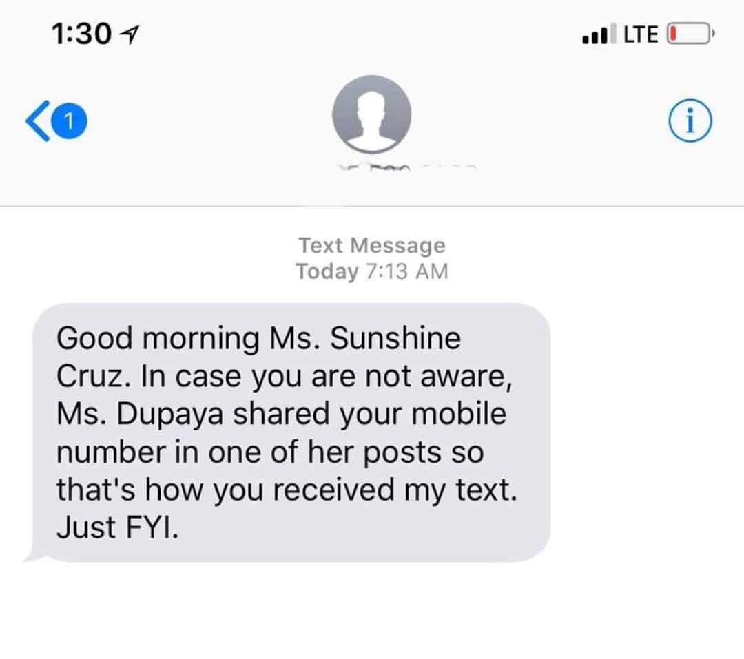 Sunshine Cruz, nalaman ang diumano'y pamimigay ni Katelyn Dupaya ng number niya