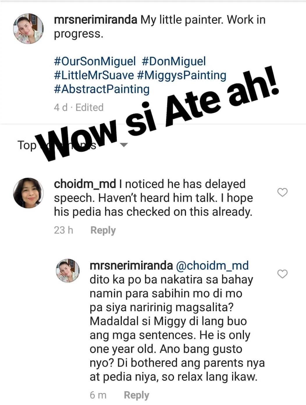 Laging inis si misis! Neri Miranda lashes out at a netizen's comment on 'delayed speech' of Baby Miggy