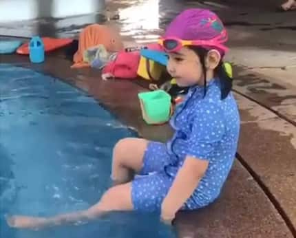 Baby Scarlet Snow wows netizens after showing off her freestyle swimming skill