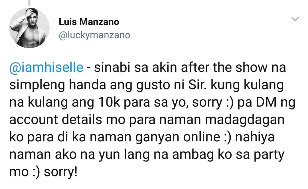 Netizen chided Luis for giving only 10K to her father for her debut
