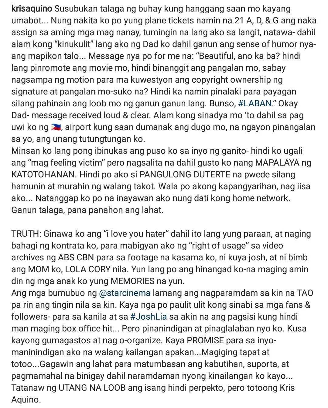 Kris Aquino ibinunyag ang tunay na dahilan bakit siya pumayag gawin ang 'I Love You, Hater'