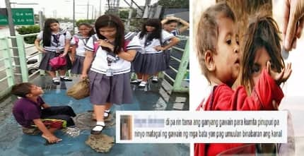 "Street child praised for being ""madiskarte"", finds a way to earn money using stone slabs: ""Kahit piso lang po, kayong anim na"""