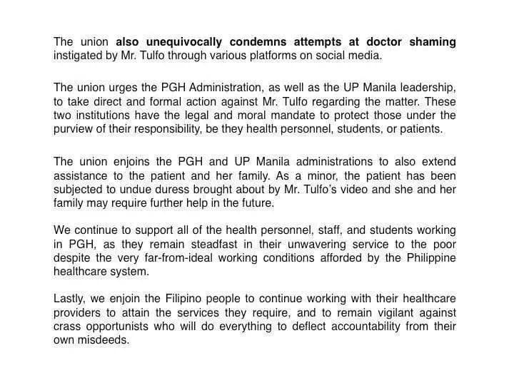 UP-Academic Union condemn Ramon Tulfo for PGH incident, urges hospital to take formal action
