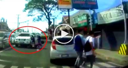 Reckless Pinoy SUV driver brutally hits motorcycle after counterflowing in Cavite road