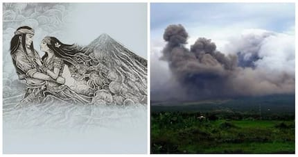 Nakaka-kilabot! Mayon Volcano's gas cloud formation that looks like silhouette of Panganoron and Magayon wows netizens