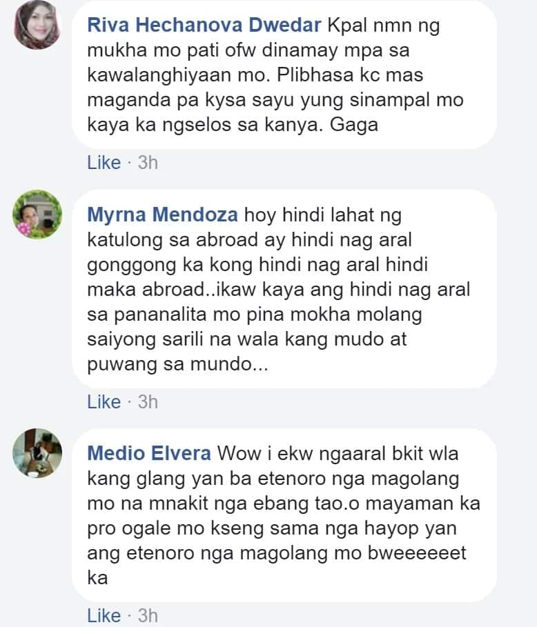 Dinamay pa pati mga OFW! Alleged Facebook account of the girl who slapped her schoolmate draws flak over a post