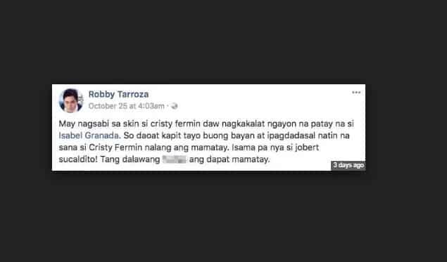 Cristy Fermin reacts on Robby Tarroza's false claims on Isabel Granada's Death Rumor