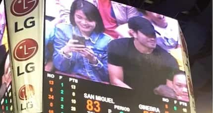 Kinilig ang fans! Gerald Anderson & Bea Alonzo spotted happy together in PBA Finals game