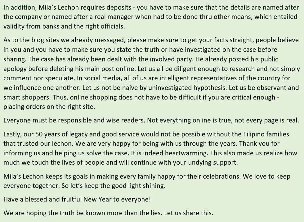 Na-scam daw ang buyer! Official statement of Mila's Lechon over trending lechon photo