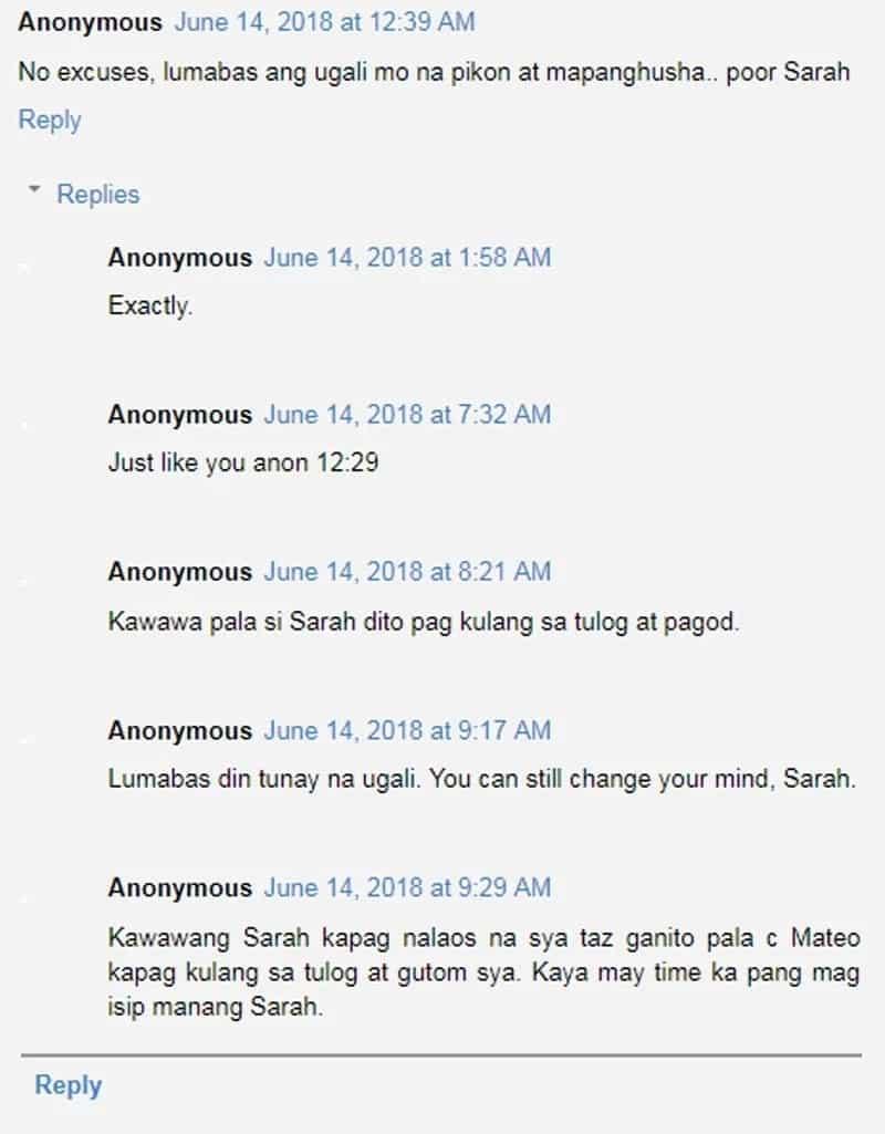 Netizens naaawa kay Sarah Geronimo pagkatapos diumano pinakita ni Matteo Guidicelli ang 'pikon' at 'mapanghusga' ugali