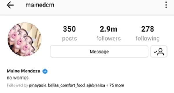 Maine Mendoza unfollows Alden Richards on Instagram
