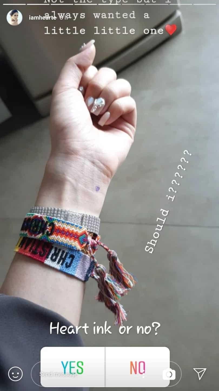 Cute! Heart Evangelista gets a little subtle tattoo on left wrist