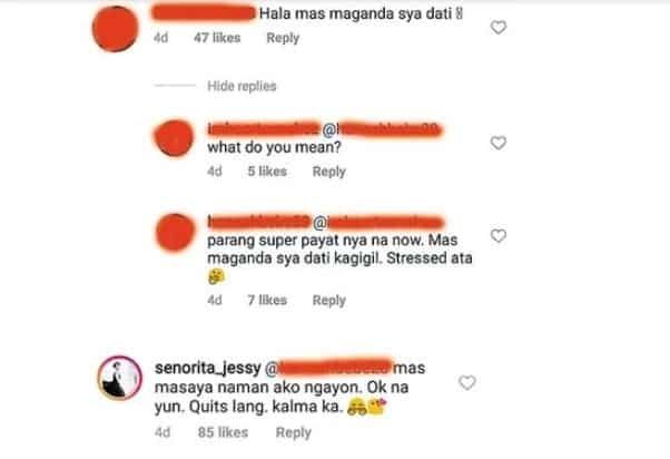 Jessy Mendiola, hindi nagpatinag sa netizen na nagsabing mas maganda siya dati kaysa ngayong pumayat siya