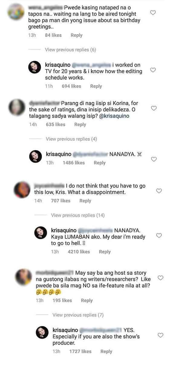 Kris Aquino, matapang na dinepensahan ang kaniyang pagbanat laban kay Korina Sanchez