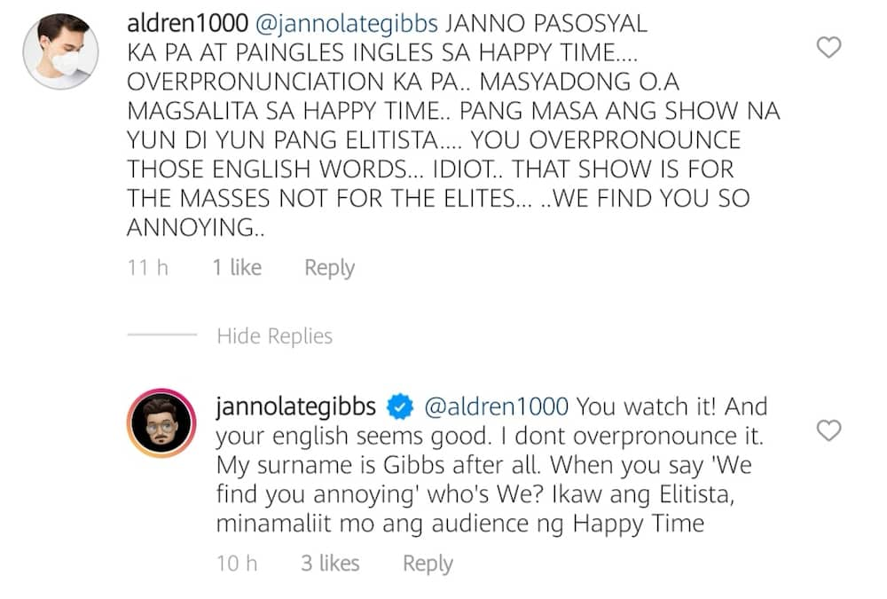 Janno Gibbs slams basher criticizing his hosting style in 'Happy Time'