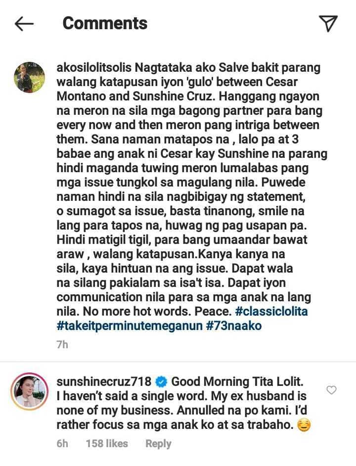 Sunshine Cruz defends herself from Lolit Solis' post about the actress, Cesar Montano