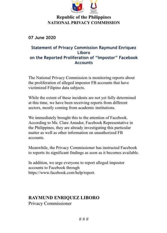 Gov't agency addresses issue on proliferation of fake FB accounts