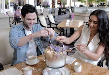 'You' stars Penn Badgley & Shay Mitchell try 'extra-large' halo-halo as they arrive in Manila