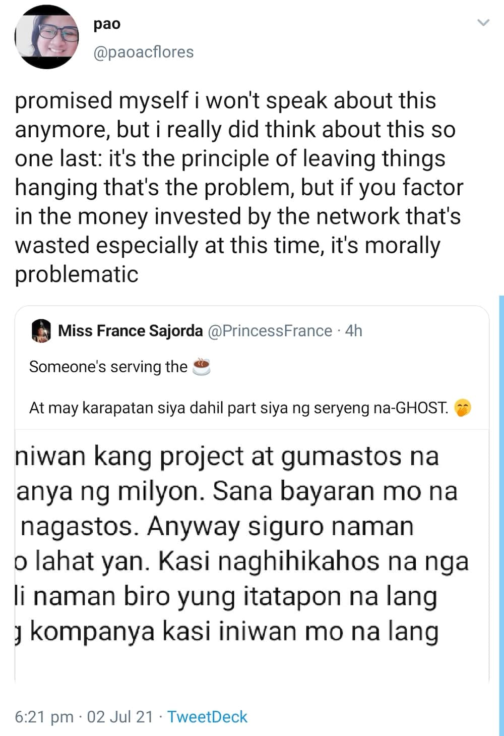 ABS-CBN creatives lambast network transfer; states millions already poured on unfinished project