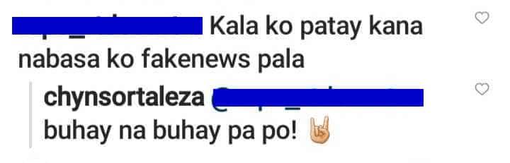 """Chynna Ortaleza sa netizen na inakalang patay na siya: """"Buhay na buhay pa po!"""""""