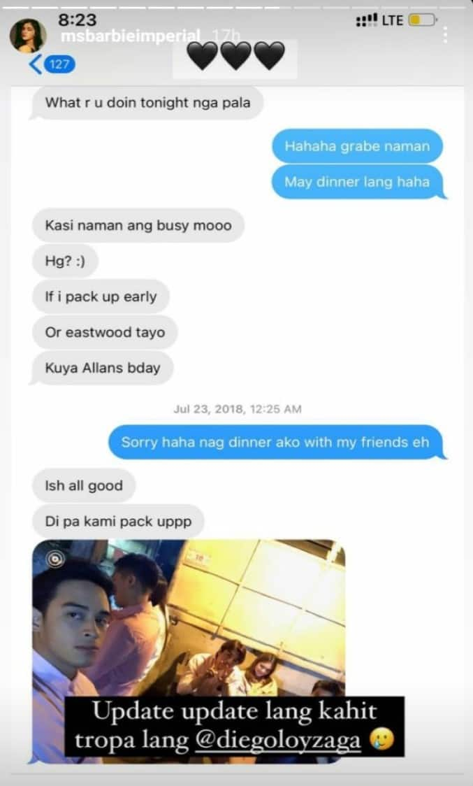 Barbie Imperial shares old convos with Diego Loyzaga, back in 2018