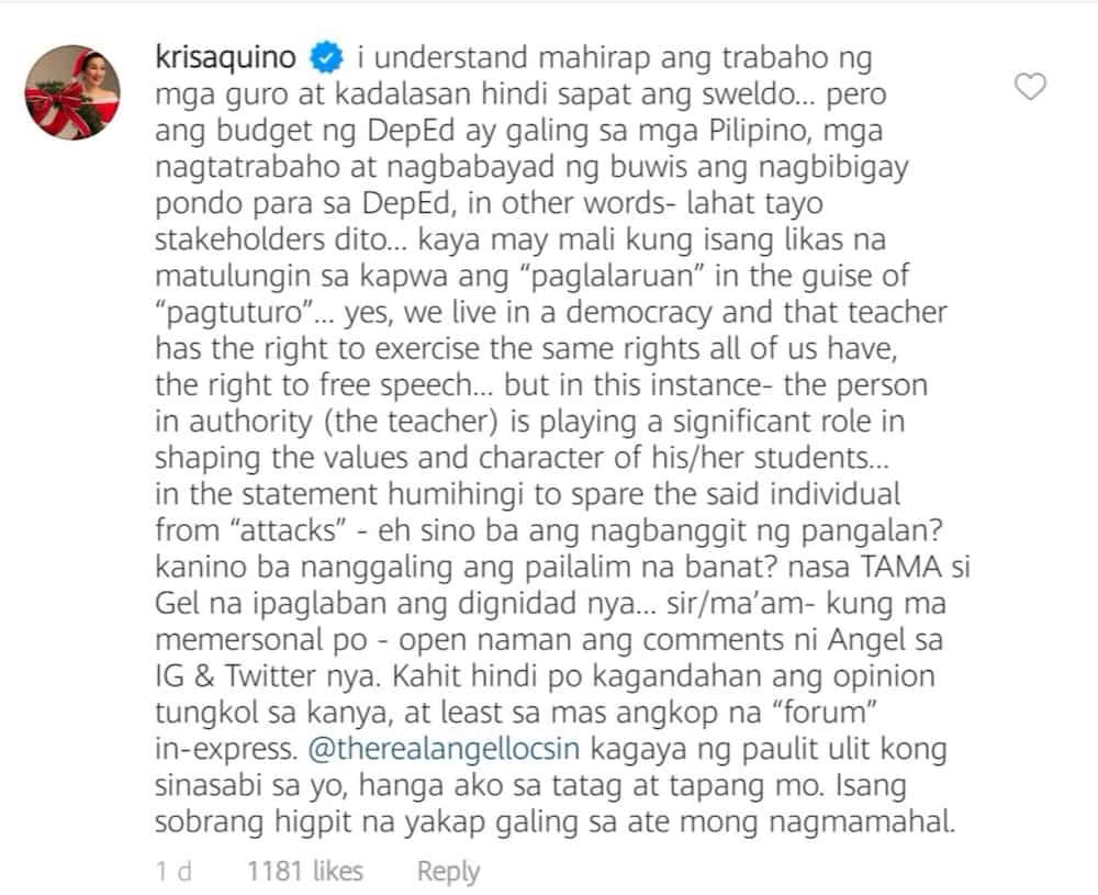 "Kris Aquino slams teacher who called Angel Locsin ""obese"" in viral module"